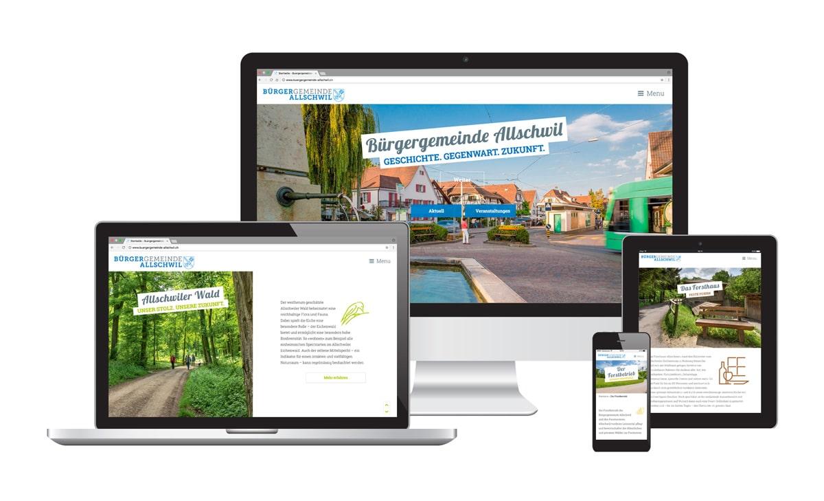 Craft Webseite für Bürgergemeinde Allschwil