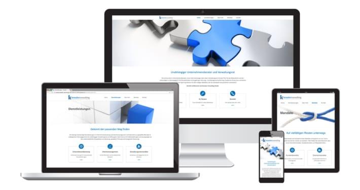 Webseite, Text & Logo Design für Kressler Consulting