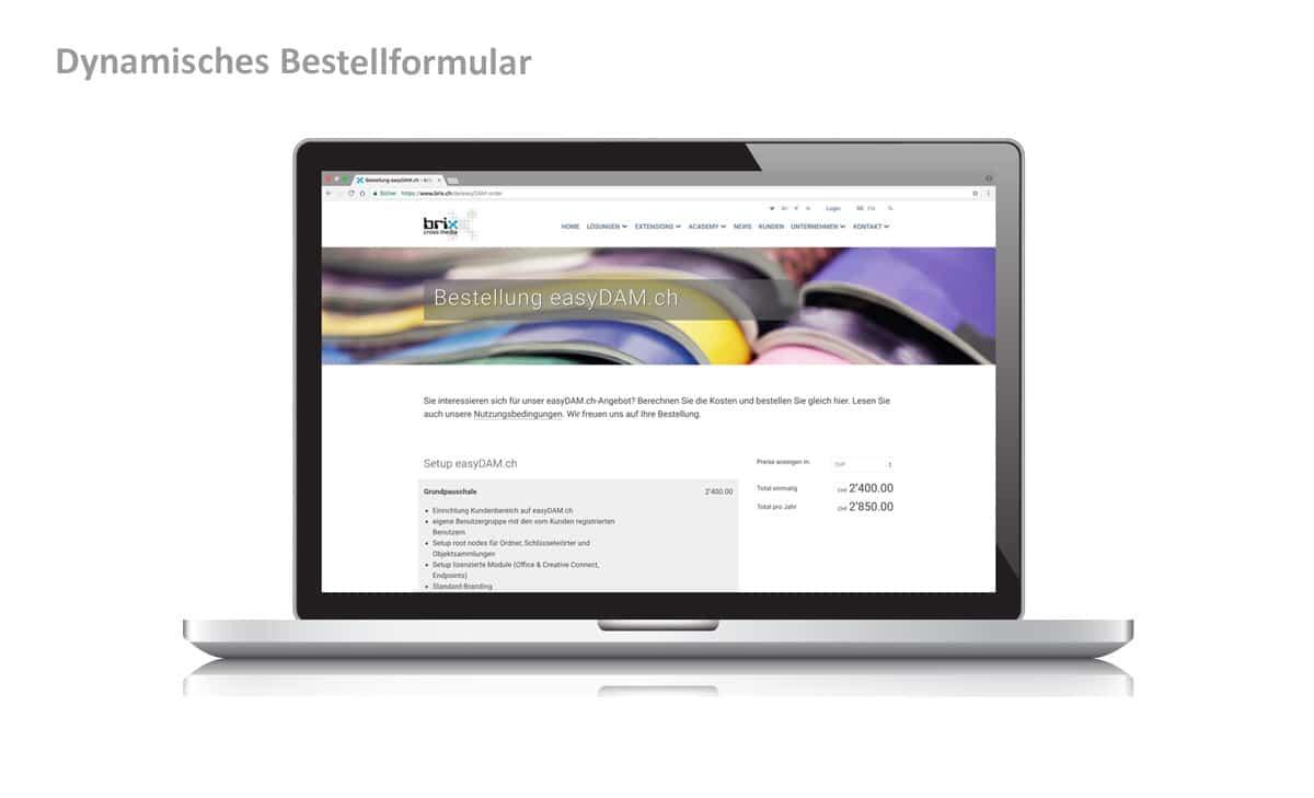 Webseite & Text für brix cross media 3